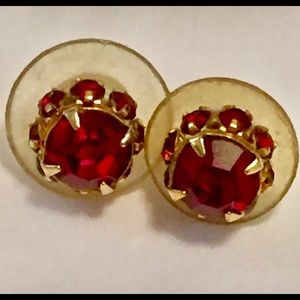 Vintage ruby red rhinestone stud earrings